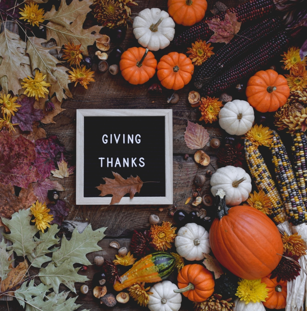 Letter board saying Giving Thanks surrounded by fall leaves, mini pumpkins, corn and gourds